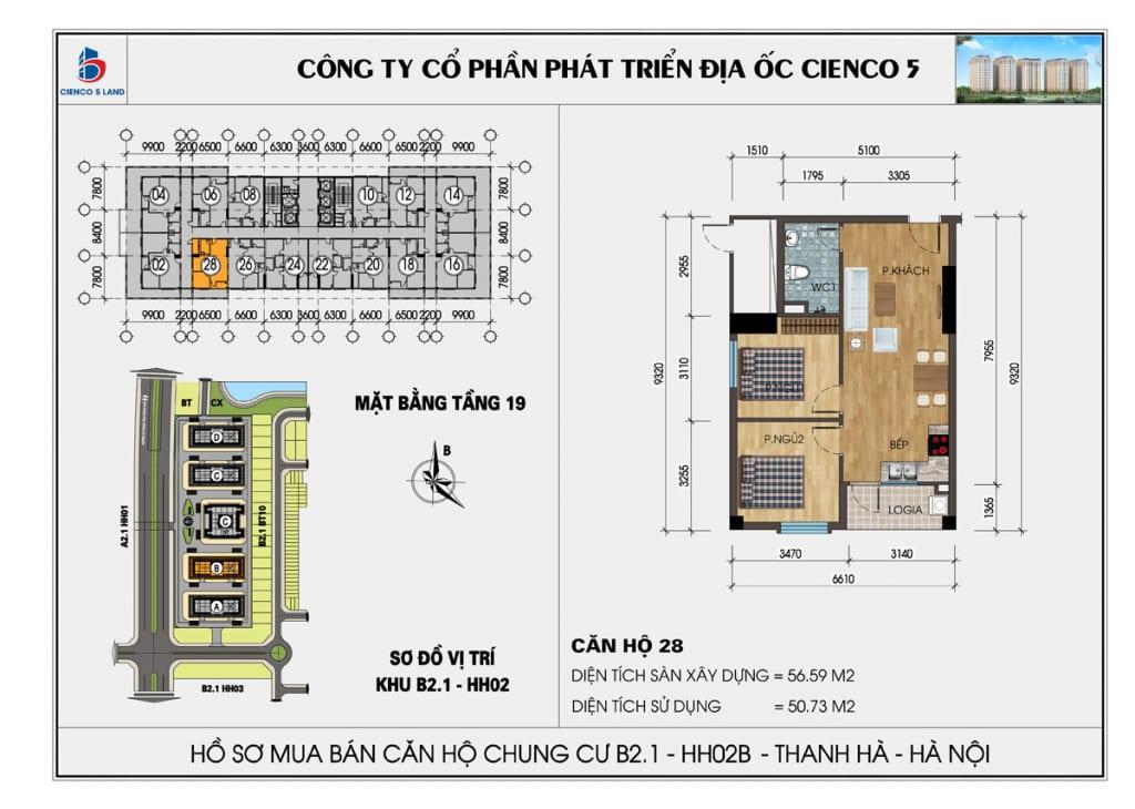 Mặt bằng căn hộ 28 chung b2.1 hh02b thanh hà mường thanh cienco5