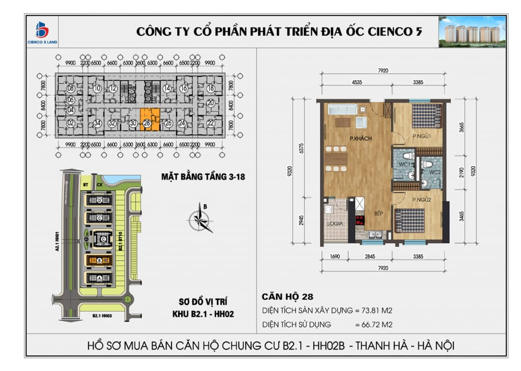 Mặt bằng căn 28 chung cư b2.1 hh02b thanh hà cienco 5 mường thanh