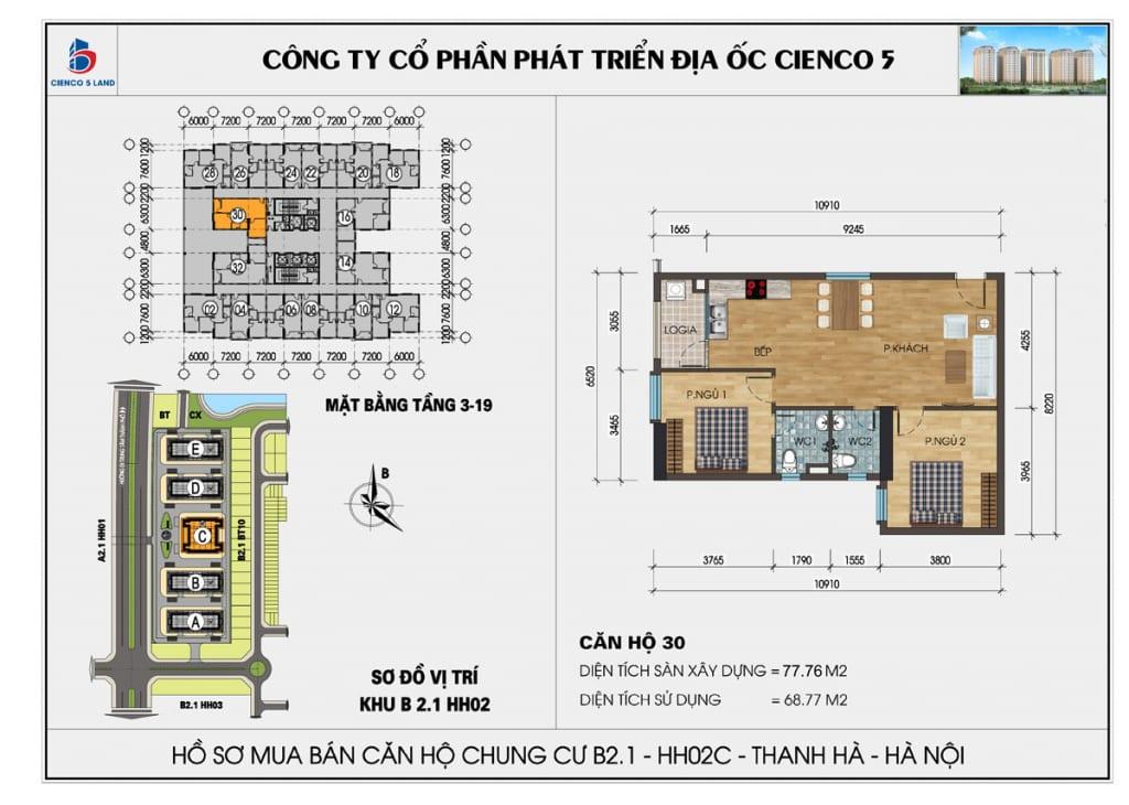 Mặt bằng căn hộ 30 chung b2.1 hh02c thanh hà mường thanh cienco5