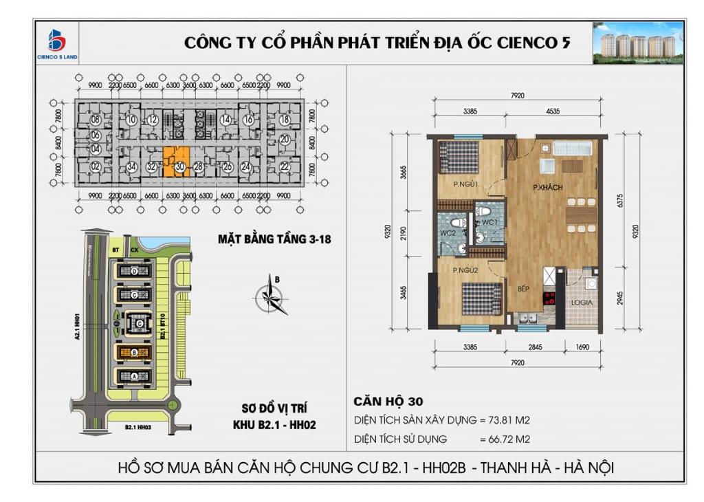Mặt bằng căn 30 chung cư b2.1 hh02b thanh hà cienco 5 mường thanh