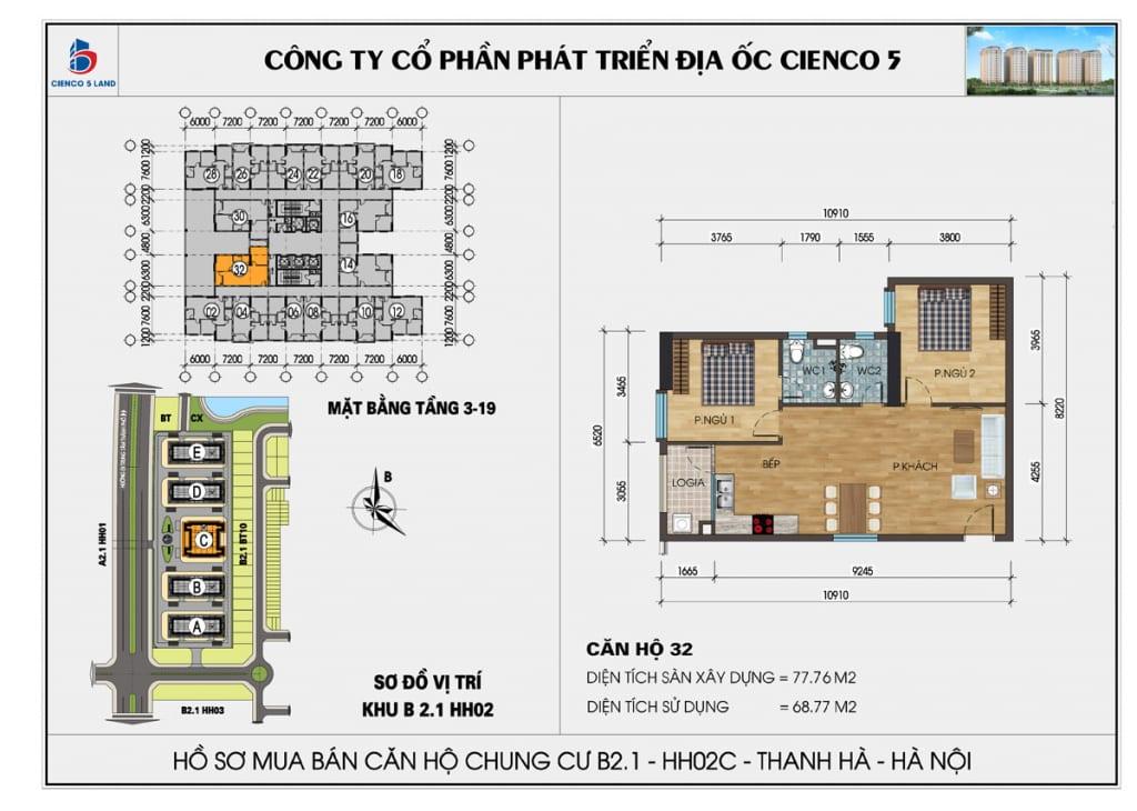 Mặt bằng căn hộ 32 chung b2.1 hh02c thanh hà mường thanh cienco5
