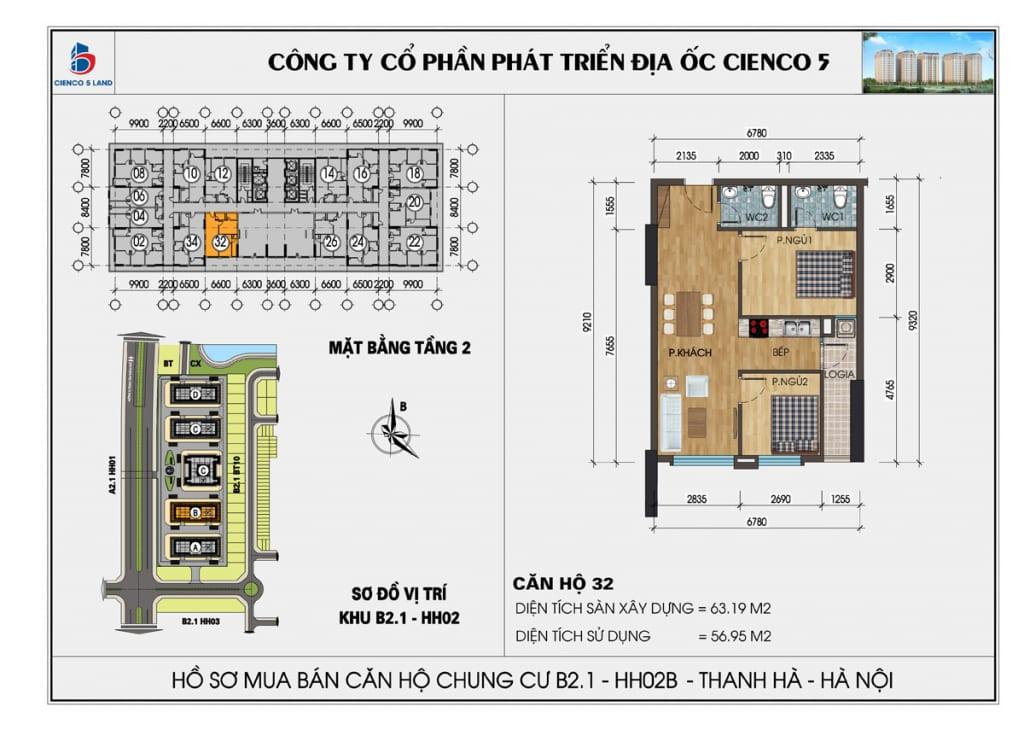 Mặt bằng căn 32 tầng 2 chung cư b2.1 hh02a thanh hà