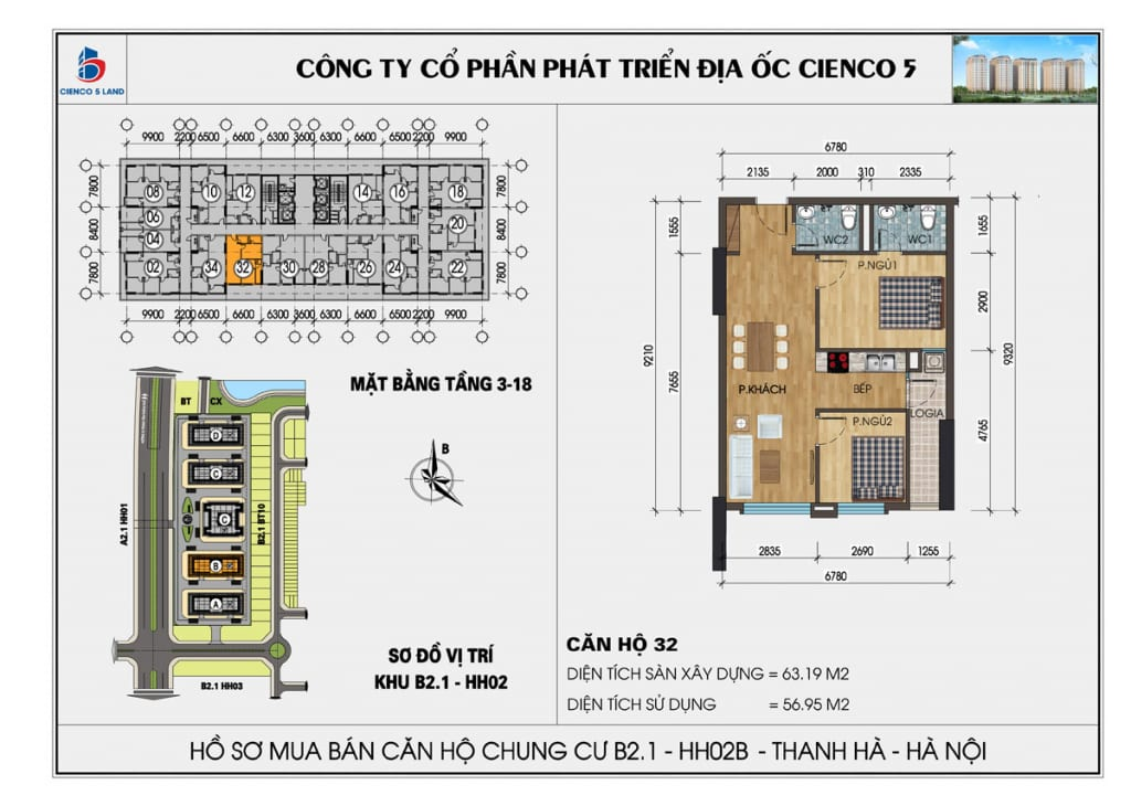 Mặt bằng căn 32 chung cư b2.1 hh02b thanh hà cienco 5 mường thanh