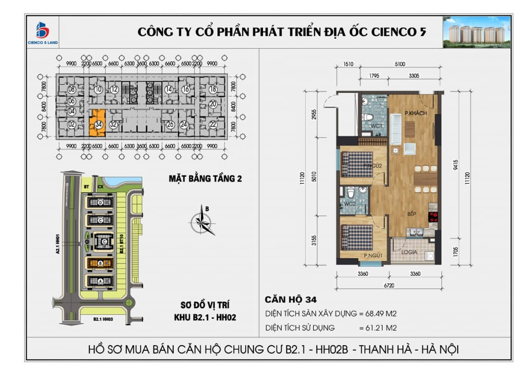 Mặt bằng căn 34 tầng 2 chung cư b2.1 hh02a thanh hà