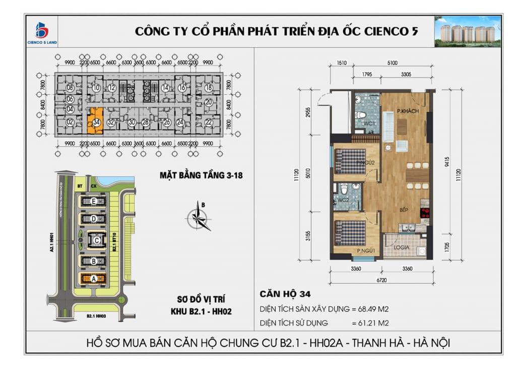 Mặt bằng căn hộ 34 chung b2.1 hh02a thanh hà mường thanh cienco5