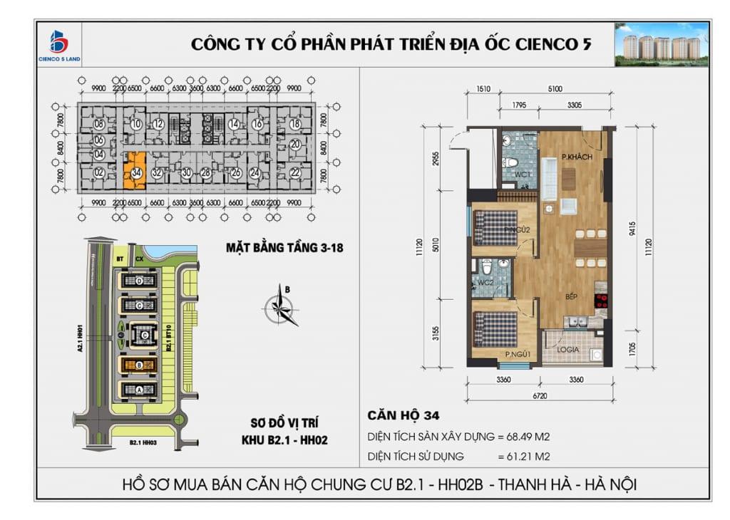 Mặt bằng căn 34 chung cư b2.1 hh02b thanh hà cienco 5 mường thanh