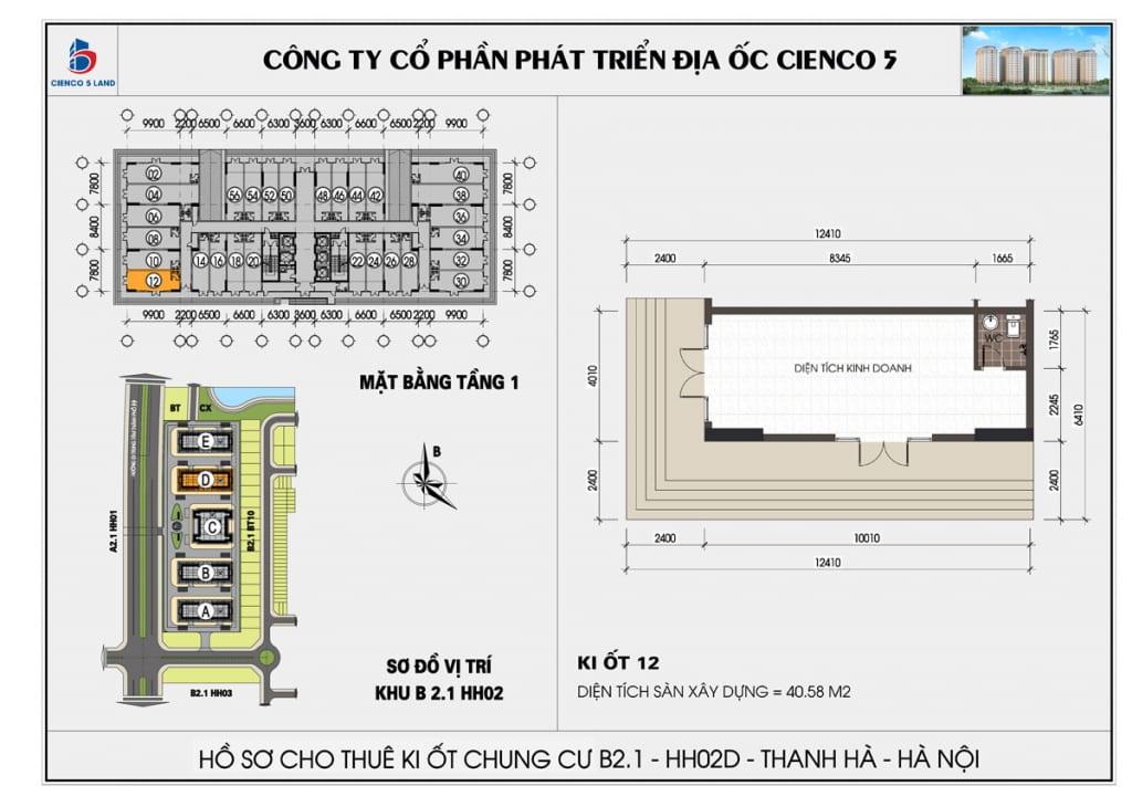 Mặt bằng kiot 12 chung b2.1 hh02D thanh hà mường thanh cienco5