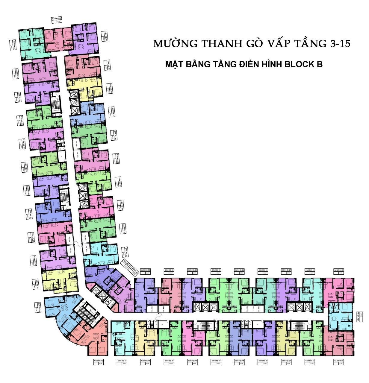 Mặt Bằng Điển Hình Block B Chung Cư Mường Thanh Gò Vấp Sài Gòn