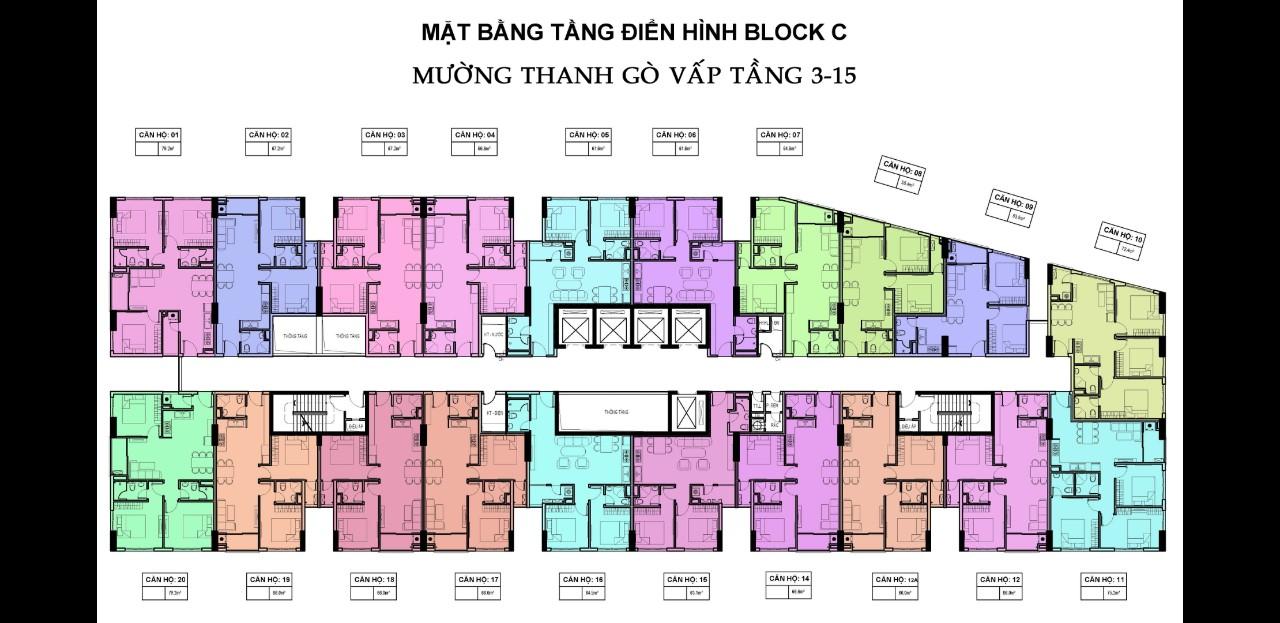 Mặt Bằng Điển Hình Block C Chung Cư Mường Thanh Gò Vấp Sài Gòn