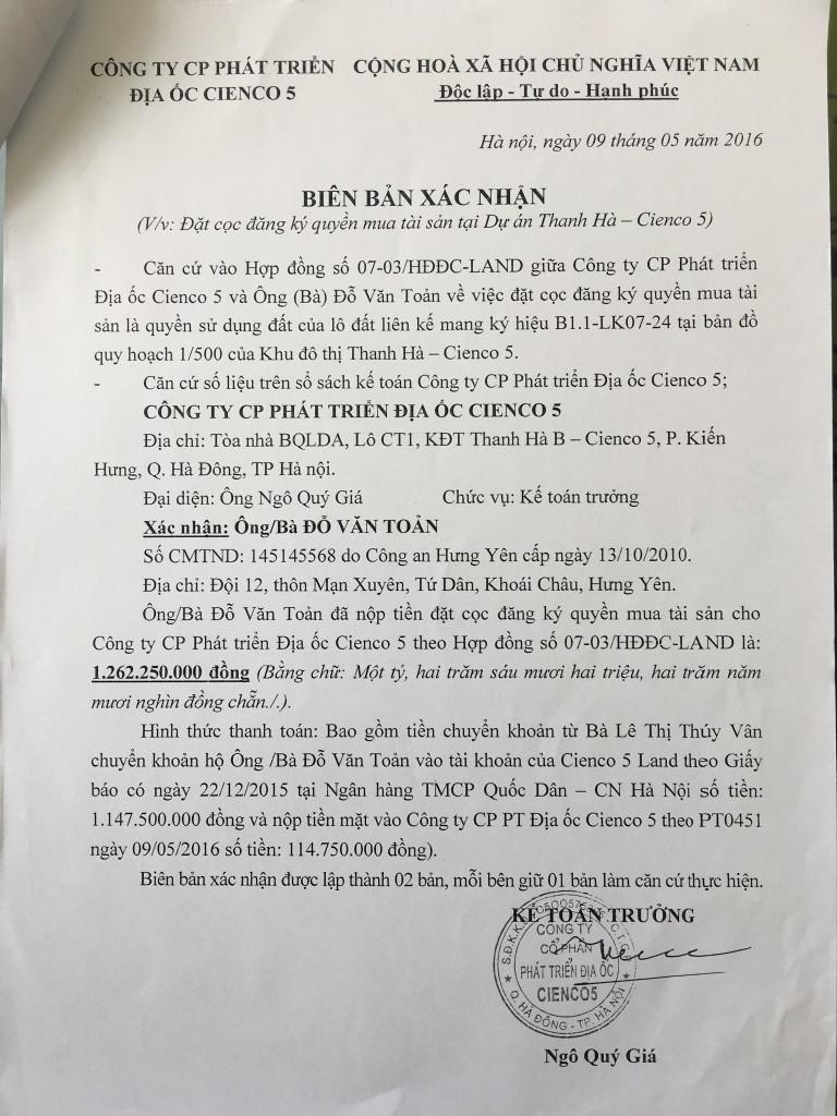 14- hợp đồng đặt cọc liền kề thanh hà cienco 5 land