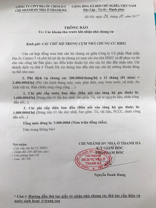 Phí dịch vụ chung cư hh02 Thanh Hà