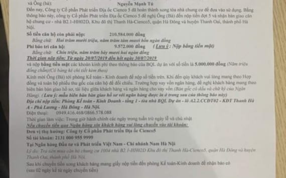 Lịch Bàn Giao Mới Chung Cư B2.1 HH02 Thanh Hà