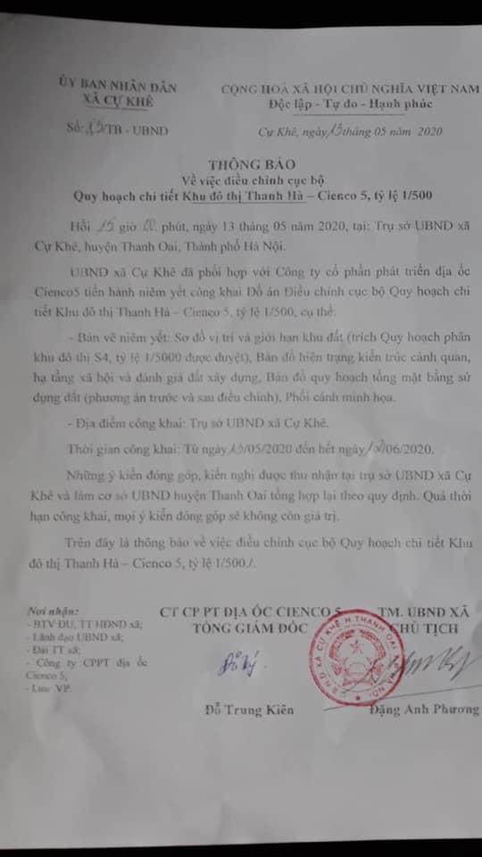 THông báo điều chỉnh quy hoạch KĐT Thanh Hà