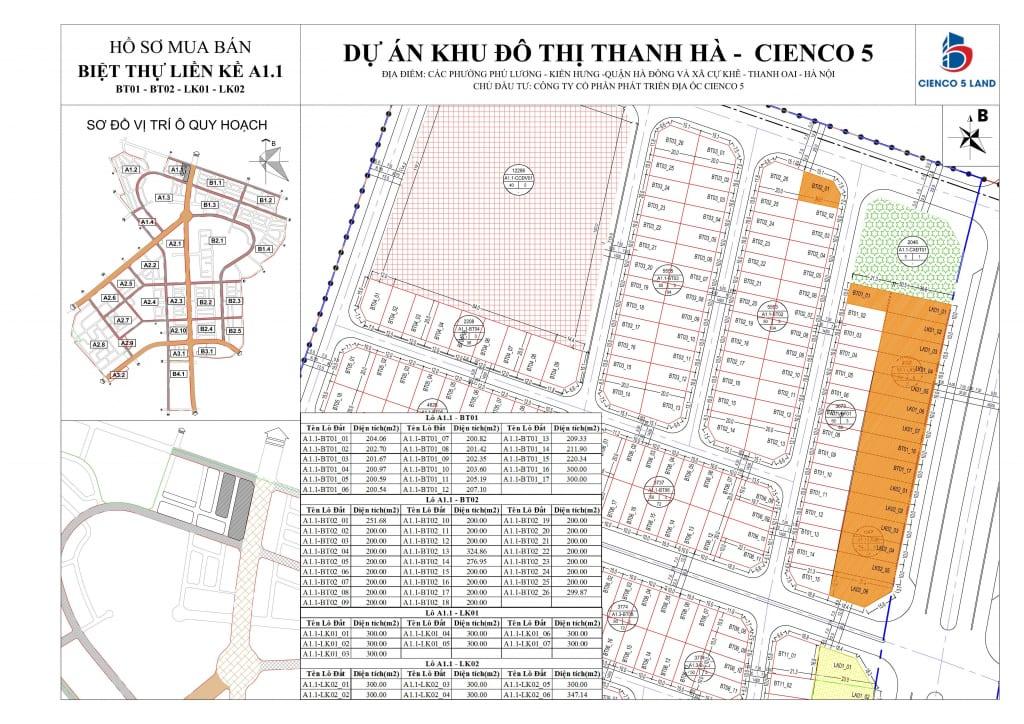 Mặt Bằng Liền Kề Biệt Thự Thanh Hà Khu A1.1 - BT01-BT02-LK01-LK02
