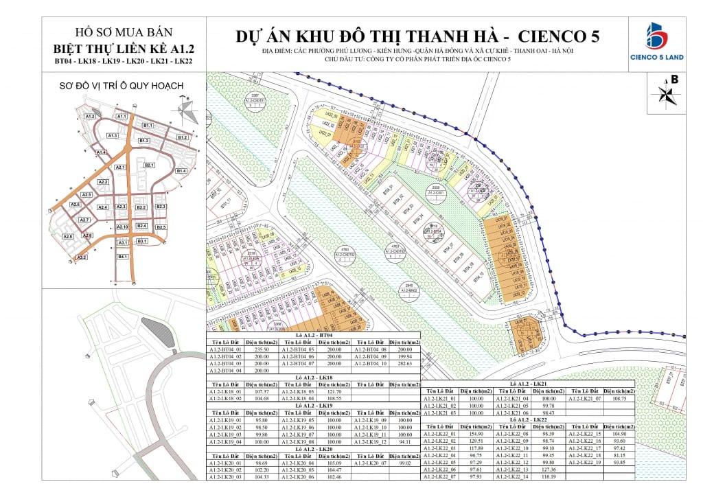 Mặt bằng sơ đồ liền kề biệt thự thanh hà BT04-LK18-19-20-21-22