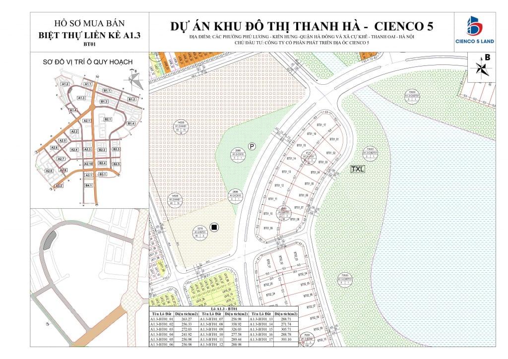 Mặt bằng sơ đồ khu A1.3 liền kề biệt thự thanh hà BT01