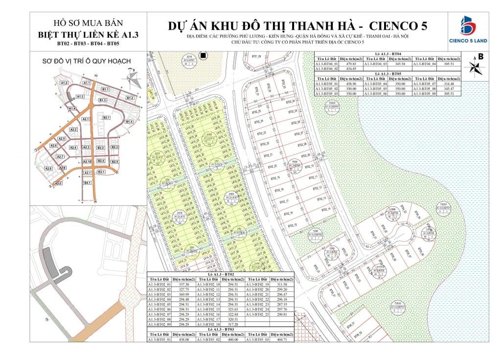 Mặt bằng sơ đồ khu A1.3 liền kề biệt thự thanh hà BT02-BT03-BT04-BT05