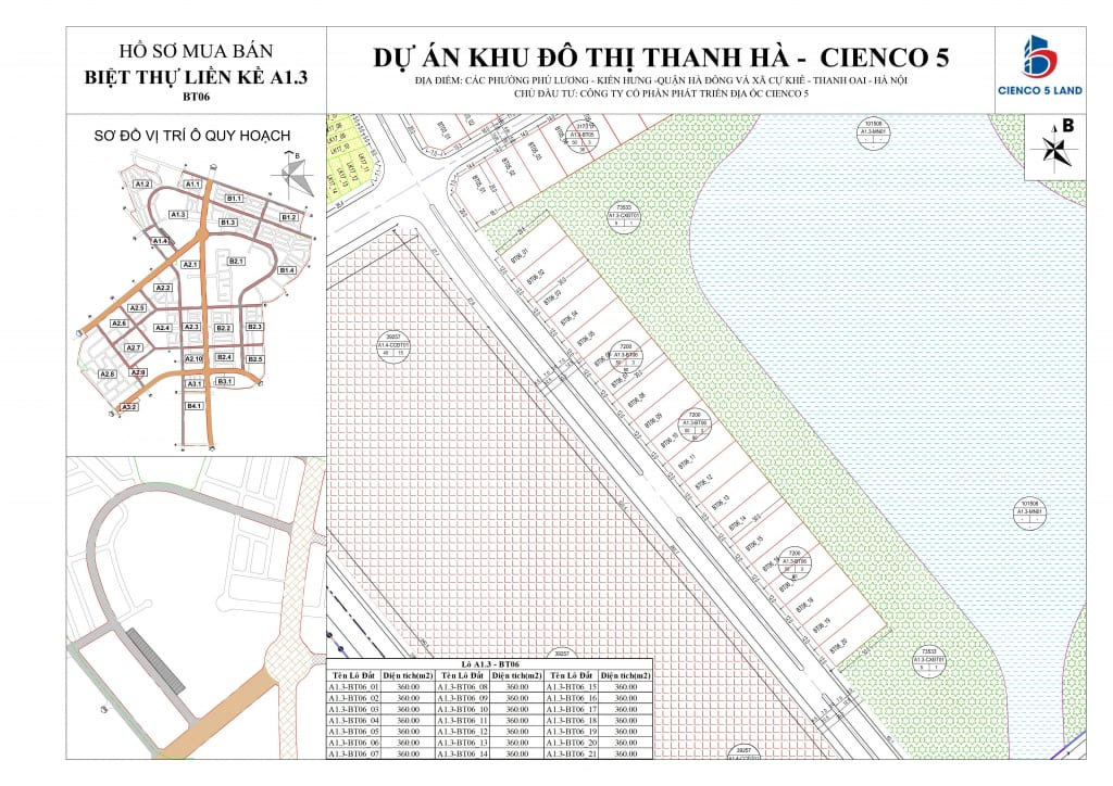 Mặt bằng sơ đồ khu A1.3 liền kề biệt thự thanh hà BT06