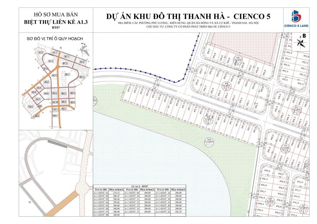 Mặt bằng sơ đồ khu A1.3 liền kề biệt thự thanh hà BT07