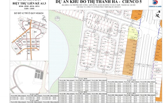 Mặt bằng sơ đồ khu A1.3 liền kề biệt thự thanh hà BT08-BT09-BT10-BT11-LK01-LK02