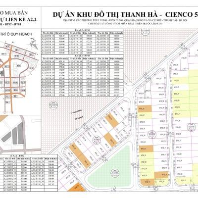 Mặt bằng Biệt thự Thanh Hà Khu A2.2 BT01-BT02-BT03