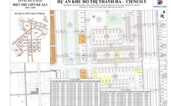 Mặt bằng khu A2.3 Liền kề biệt thự Thanh Hà BT01-BT03-LK01-LK02