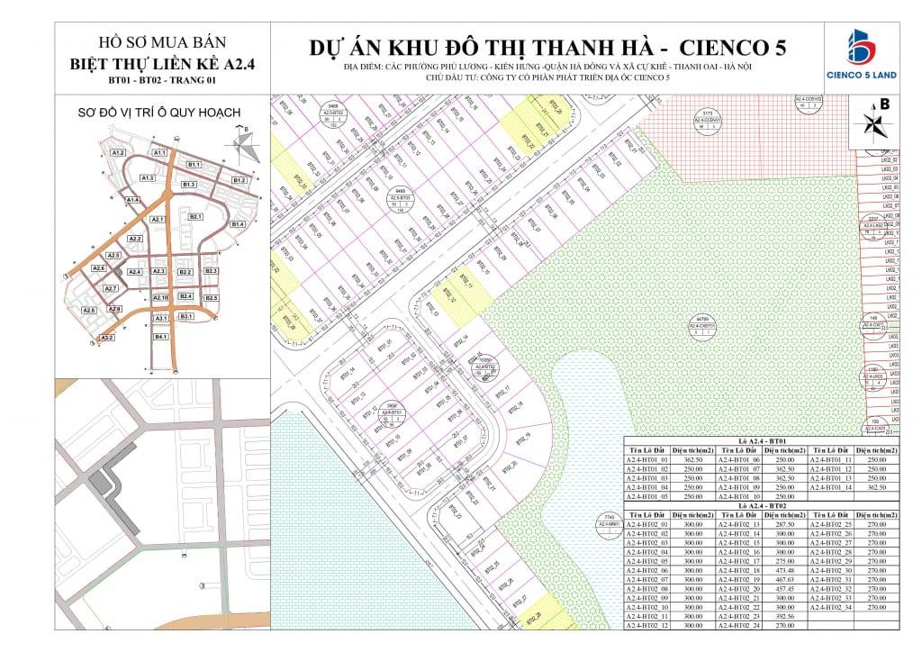 Sơ đồ Mặt bằng khu A2.4 liền kề biệt thự Thanh Hà vị trí BT01-BT02-1