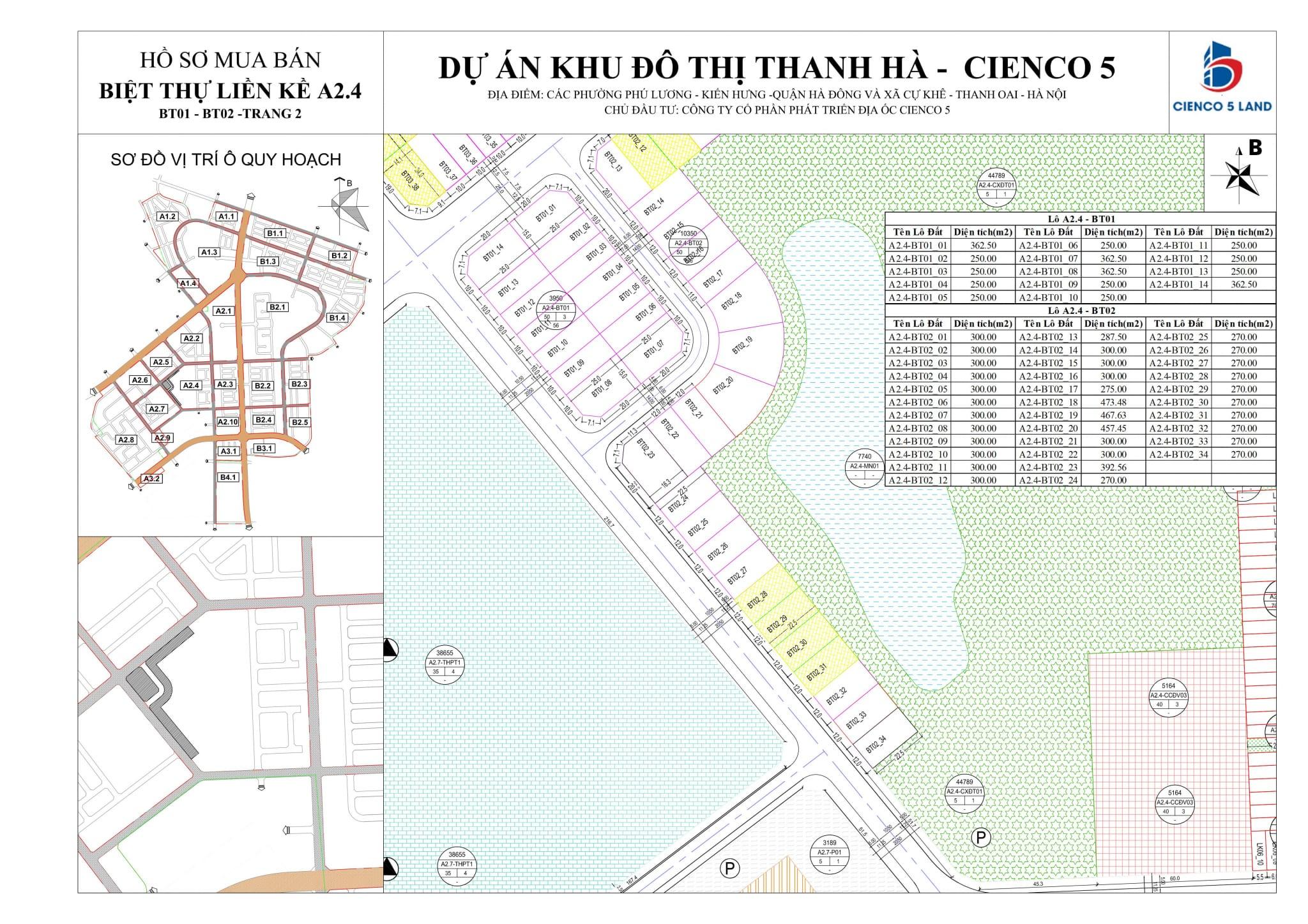 Sơ đồ Mặt bằng khu A2.4 liền kề biệt thự Thanh Hà vị trí BT01-BT02-2