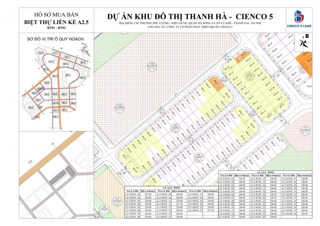 Sơ đồ Mặt Bằng Khu A2.5 Biệt Thự Thanh Hà BT01-BT02