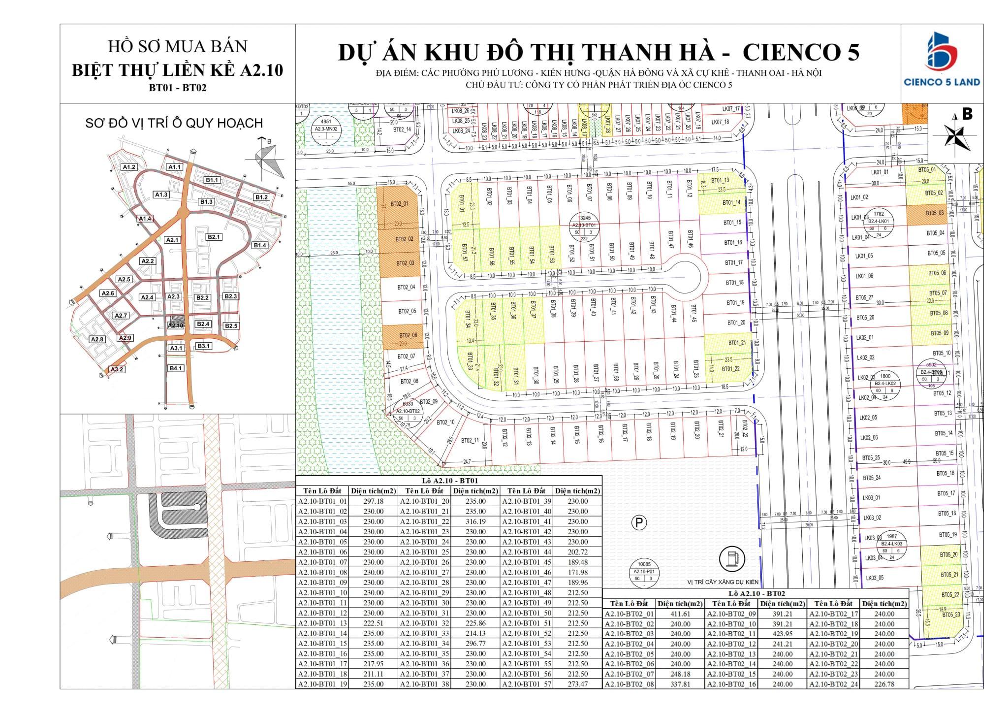 Mặt bằng sơ đô ô đất khu A2.10 biệt thự thanh hà BT01 và BT02