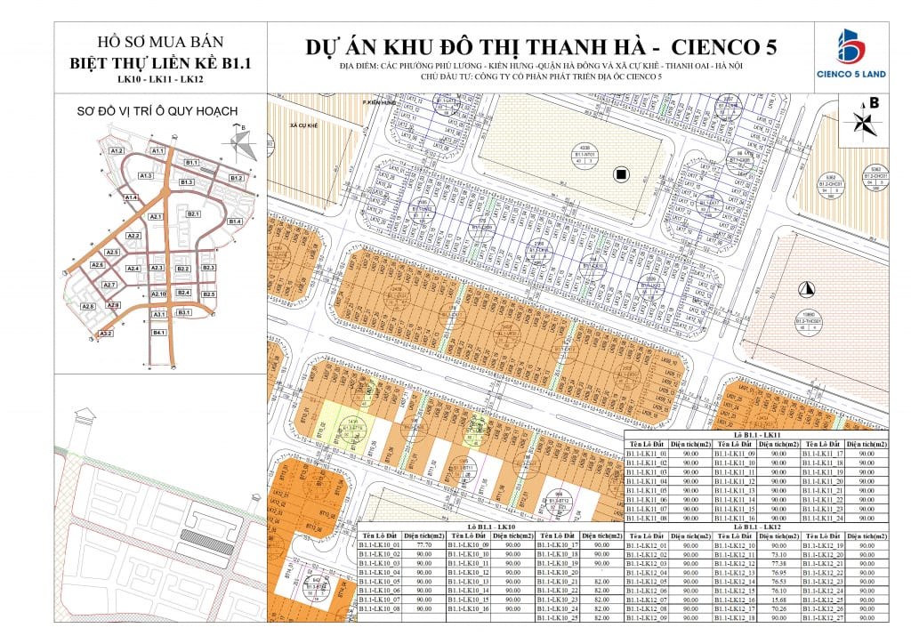 Sơ đồ mặt bằng ô đất khu B1.1 Liền Kề Biệt Thự Thanh Hà LK10-11-12
