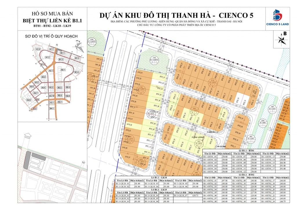 Sơ đồ mặt bằng ô đất khu B1.1 BT01-BT02-LK18-LK19 Liền Kề Biệt Thự Thanh Hà