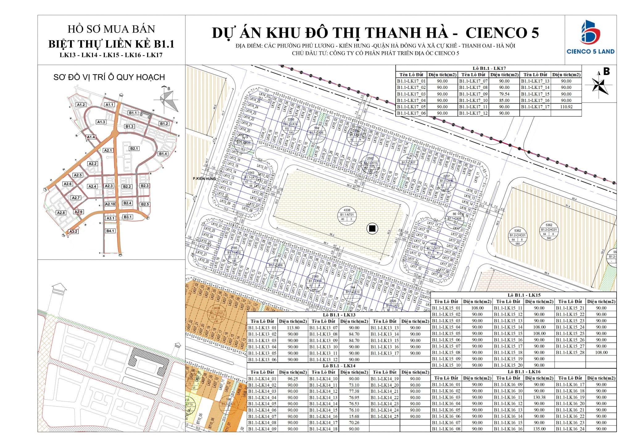 Sơ đồ mặt bằng ô đất khu B1.1 Liền Kề Biệt Thự Thanh Hà LK13-14-15-16-17