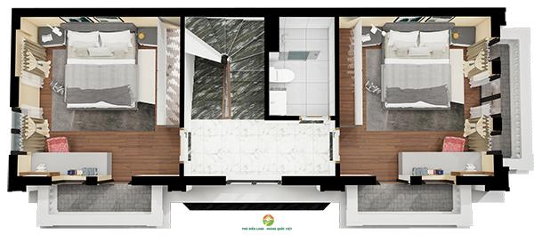 Mặt bằng tầng 2 Biệt Thự Hoa Đào - Phú Diễn Land
