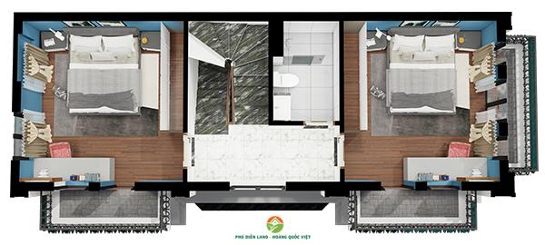 Mặt bằng tầng 3 Biệt Thự Hoa Đào - Phú Diễn Land
