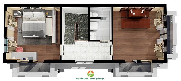 Mặt bằng tầng 4 Biệt Thự Hoa Đào - Phú Diễn Land