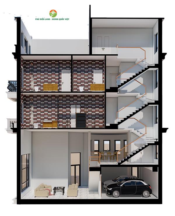 Mặt đứng các tầng Biệt Thự Phú Diễn Ô M-01