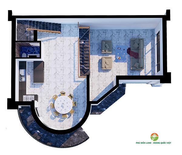 Mặt bằng tầng 1 Biệt Thự Phú Diễn Ô M-01