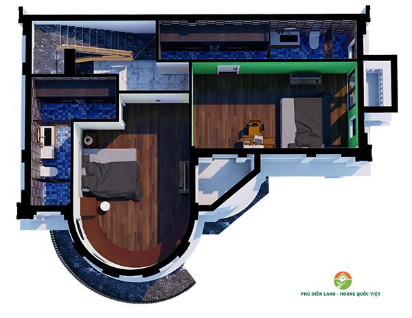 Mặt bằng tầng 2 Biệt Thự Phú Diễn Ô M-01