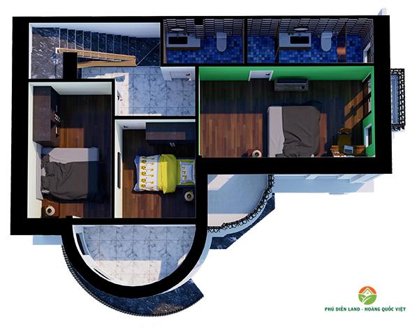 Mặt bằng tầng 3 Biệt Thự Phú Diễn Ô M-01