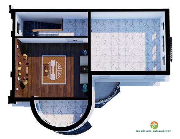 Mặt bằng tầng 4 Biệt Thự Phú Diễn Ô M-01