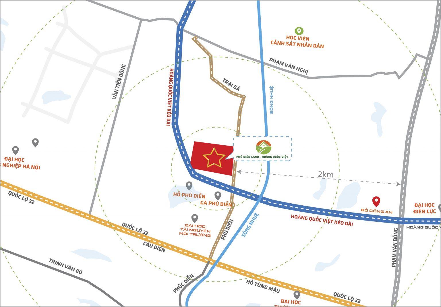 Vị trí dự án Liền kề biệt thự Phú diễn land