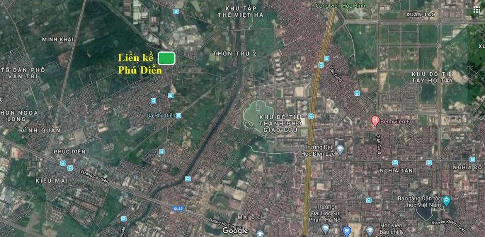 Vị trí dự án qua google Map Liền Kề Biệt Thự Phú Diễn Land