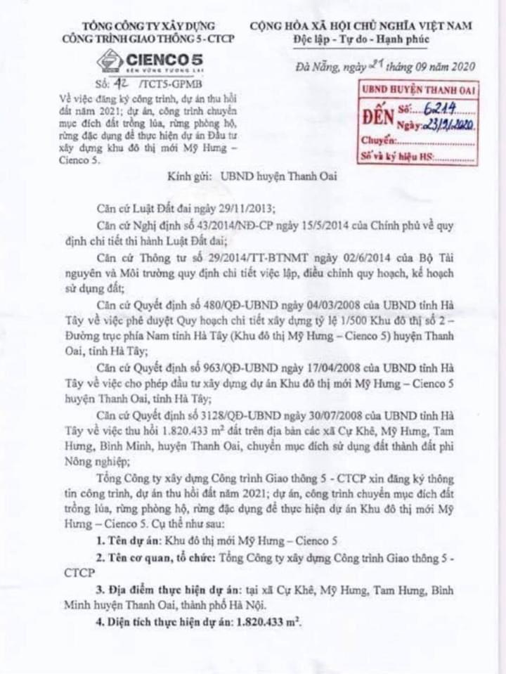 01 - Thông Báo VV Kế Hoạch Thu hồi Đất để triển khai Dự án Khu Đô Thị Mỹ Hưng