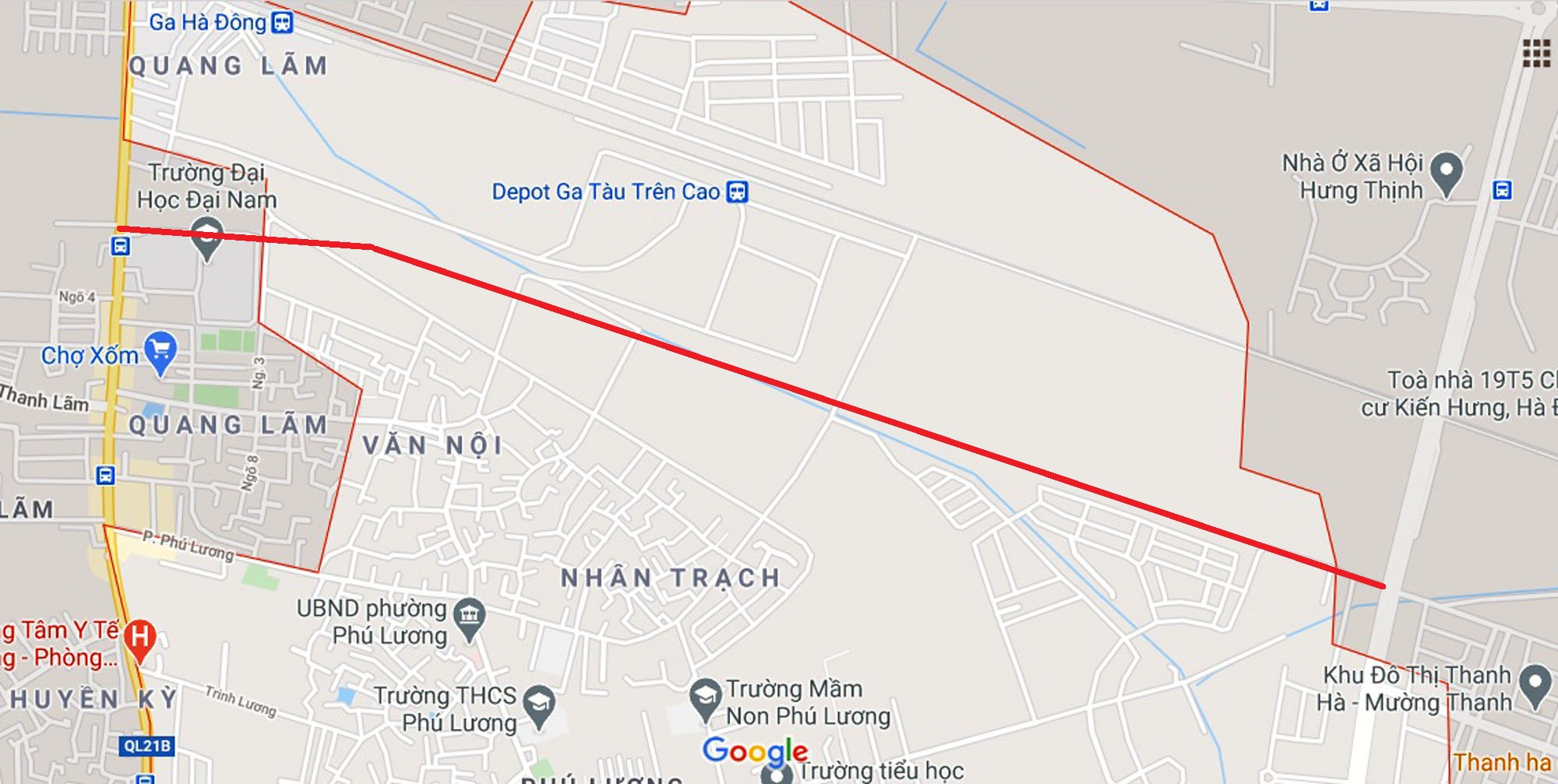 Sơ đồ tuyến đường từ khu đô thị Thanh Hà đến QL21B. (Nguồn ảnh: Google).