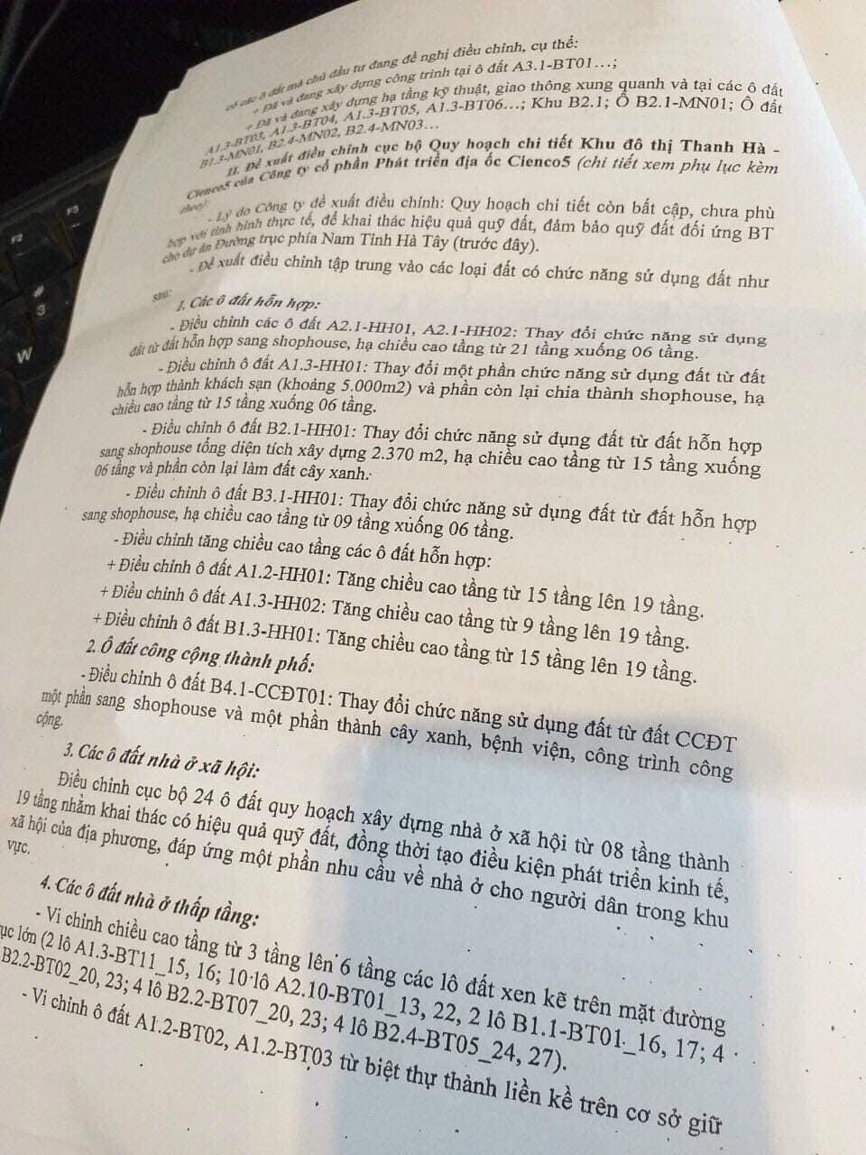 Văn bản hướng dẫn thực hiện điều chỉnh quy hoạch KĐT Thanh Hà Cienco 5 - 3