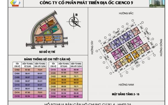 Mặt bằng điển hình căn hộ chung cư B1.4 HH02-2A Thanh Hà Cienco 5