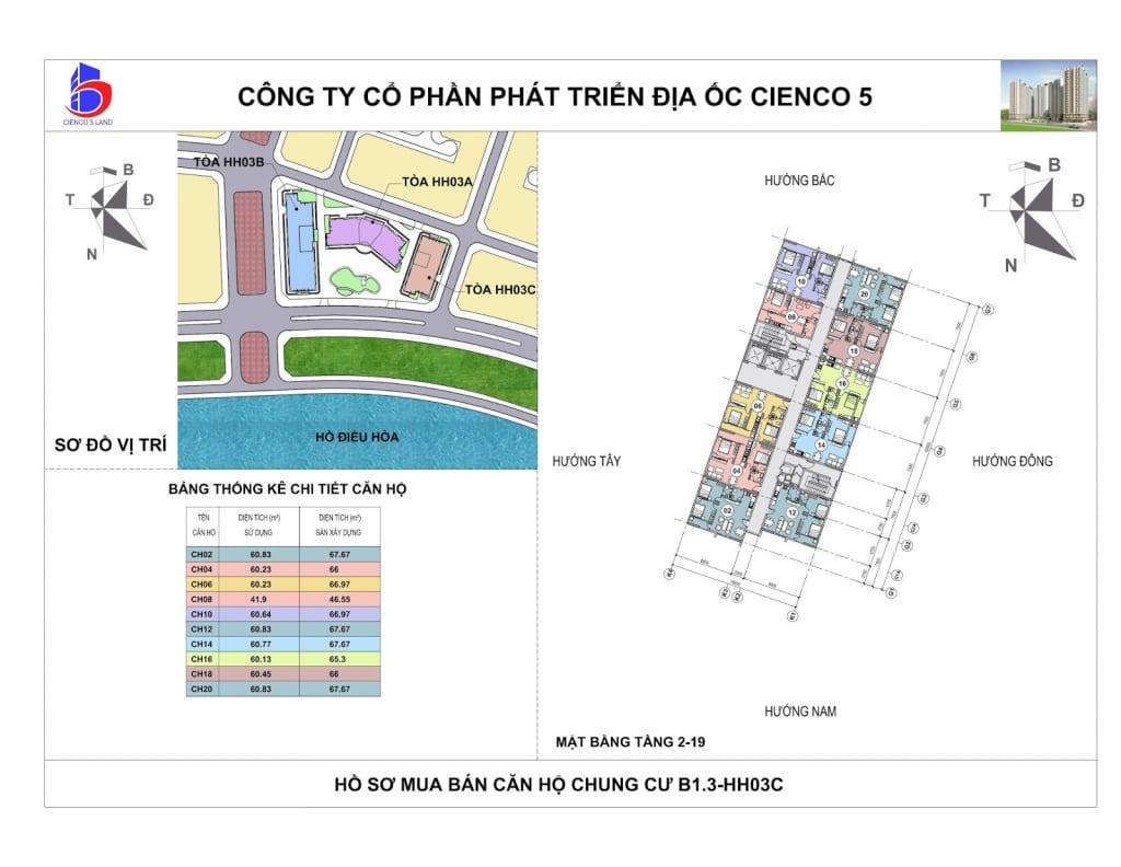 Mặt bằng Tổng Thể Căn Hộ Chung Cư B1.3 HH03C Thanh Hà Cienco 5