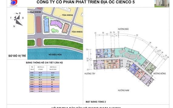 Mặt bằng tổng thể Tầng 2 Chung Cư B1.3 HH03A Thanh Hà Cienco 5