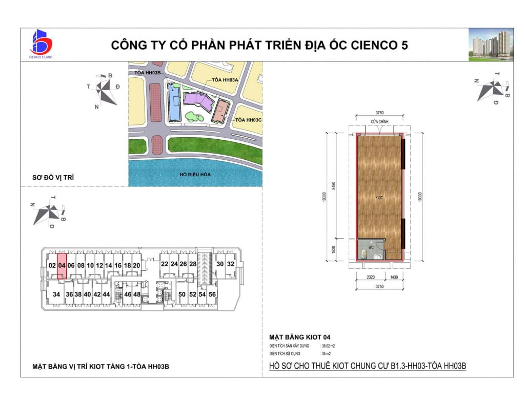 Mặt bằng kiot 04 Chung Cư B1.3 HH03B Thanh Hà Cienco 5